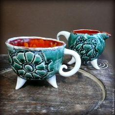"""Кружки и чашки ручной работы. Ярмарка Мастеров - ручная работа. Купить """"Сказки Гофмана"""" чашка+молочник, керамика ручной работы. Handmade."""