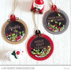 Handmade tags from Torico featuring Gift Tag Greetings stamp set, Merry Christmas Centerpieces, Tag Builder Blueprints 6, and Blueprints 26 Die-namics #mftstamps
