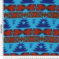 Fleece - Tribal Turquoise and Red Fleece Fabric Item# 3532223
