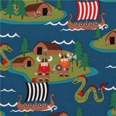 dark blue maritime Michael Miller viking fabric 1