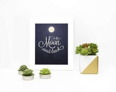 Items similar to To The Moon and Back Indigo Colour, Moon Print, Typography Poster, Place Card Holders, Posters, Boutique, Digital, Prints, Etsy