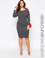 ASOS CURVE Bardot Body-Conscious Dress In Stripe