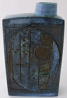 """Troika Pottery Chimney Vase.  Approximately 8"""" in height."""