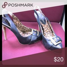 Shoes Jessica Simpson black leather 4 inch heels with gold buckle. Leopard print insole. Jessica Simpson Shoes Heels