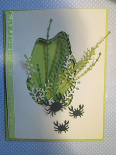 I've been playing with multi-layered cards this past week and decided to show you what I've done with layering the SEAWEED COLLAGE 99727 and SEAWEED STALKS 99717. This is the first card I made using three layers of the Seaweed Collage and Seaweed Stalks in shades of green. I added three of the CHEERFUL CRABS 99722 cut from dark green cardstock on the front of the card and one more large crab on the inside. And, of course, there's ribbon around the top layer of the card! Now I'll show you…