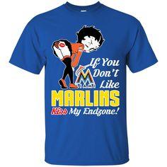Betty Boop Miami Marlins T shirts If You Don't Like Kiss My Endzone Hoodies Sweatshirts