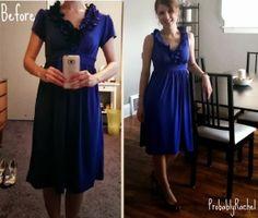 Baring Arms Blue Ruffle Dress refashion