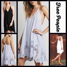 """FREE PEOPLE Slip Dress RETAIL PRICE: $98 NEW WITH TAGS   FREE PEOPLE Black Slip Dress Crochet Detail  * A-Line silhouette, V-neck front, & low strappy back.    * Beautiful cutout details & a scalloped hem   * Pullover style & a relaxed fit   * It measures about 32"""" long; Chest measures about 38"""" around.   * Lightweight fabric.    Fabric: 100% Cotton  Color: Periwinkle (lilac) Item:  No Trades ✅Fair Offers Considered*/Bundle Discounts✅  *Please use the blue 'offer' button to submit an offer…"""