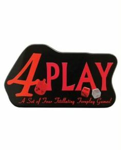 4 Play by Kheper Games. $17.39. And for SEX Marks the Spot spin the sex top and try to make it stop on the body part of your lover you want to satisfy.. Enjoy Wheel of Pleasure where you spin to perform sexual fantasies on your lover.. Foreplay Dice where you roll dice to perform erotic actions on your lover.. In Foreplay Fortune you and your lover use cards to act out sexual fantasies.. A set of four titillating games.. A set of four titillating games. Enjoy Wh...