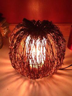 Natural Twig Pumpkin shade and orange liner.  www.pinkzebrahome.com/jenniferbrown
