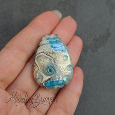 Treasure Map Aqua & Gold Lampwork Focal Bead by MadelineBunyan, £18.00