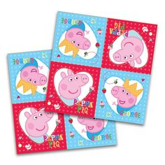 "16 Peppa Pig Red Birthday Party Disposable 6.5"" Paper Napkins #Party"