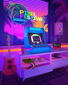 Synthwave Art Scenes by Denny Busyet Aesthetic Room Decor, Purple Aesthetic, Retro Aesthetic, Aesthetic Backgrounds, Aesthetic Wallpapers, Neon Room, Retro Arcade, Retro Waves, Retro Wallpaper
