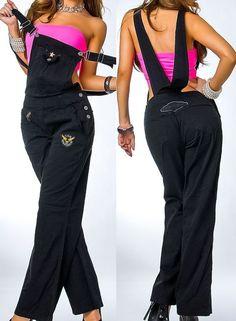 NEU Sexy Latzhose Overall Jumpsuit S M Schwarz Jeans Boyfriend Bootcut Hüfthose