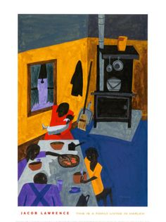 Art Poster Print - This is a Family Living in Harlem, 1943 - Artist: Jacob Lawrence- Poster Size: 24 X 18 Klimt, Jacob Lawrence Art, African American Food, Native American, Framed Art Prints, Poster Prints, Art Posters, Tropical Art, Black Artists