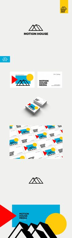 Logo and business card design by smiDESIGN for a video production studio. Modern abstract shapes back a minimalist logo mark. #branding #design