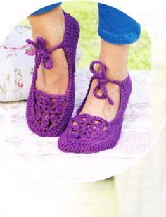"Description taken from the magazine ""Sabrina"" № 8/2013 г. Ballerinas crocheted number 5 of 150-150-200-200-200 g purple yarn Shachenmayr SMC Catania Grande"