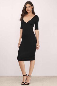 Backless Dresses, Tobi, Black Uptown Midi Dress