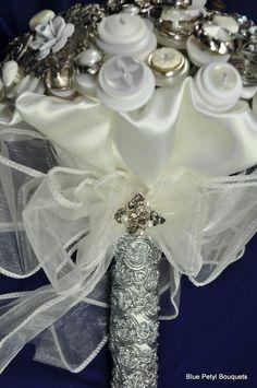 Blue Petyl - Antique SIlver Button Bouquet