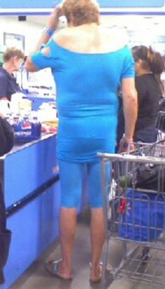 Big Blue - Amazon Woman in Biker Shorts Shops at Walmart - WTF Tall - Funny Pictures at Walmart