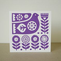 Scandinavian Bird Flower Hand Screen Printed Greeting Card. Fran Wood Design - online shops at Folksy and Etsy.