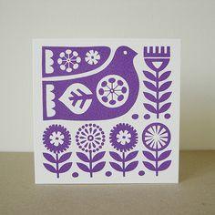 Scandinavian Bird Flower Hand Screen Printed Greeting Card. Fran Wood Design - online shops at Folksy and Etsy.