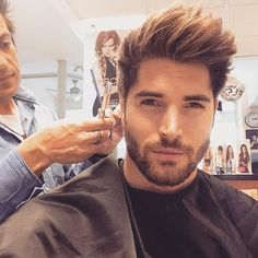 This is me after make-up for my Nick Bateman disguise with my make-up artist perfecting the 'Nick' hairstyle after having perfected the facial hair on my face. ----- I wish that was true, but this, unfortunately, is the real Nick, but it doesn't stop me wishing that was me after transformation!!!