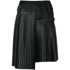 Mm6 Maison Margiela asymmetric pleated skirt (7.843.200 IDR) ❤ liked on Polyvore featuring skirts, black, pleated skirts, asymmetric hem skirt, knee length skirts, asymmetrical skirts and knee length pleated skirt