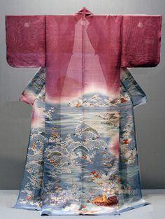 Katabiri summer silk kimono to early century) Traditioneller Kimono, Kimono Japan, Kimono Fabric, Japanese Kimono, Japanese Geisha, Traditional Kimono, Traditional Dresses, Japon Tokyo, Kimono Design