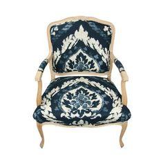 Chair Upholstery: Abaza Resist in Indigo, 173952. http://www.fschumacher.com/search/ProductDetail.aspx?sku=173952 #Schumacher