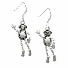 Monkey with 4 Dangle Limbs French Charm Earrings [Jewelry] . $19.99. We design all of our own charms.. Plated Charms with Sterling Silver French Hook.. Comes with friction backing.. Hand Painted Charms.