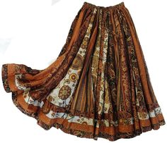 Long Panel Gypsy Paisley Patchwork Skirt