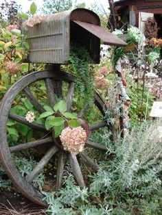 Have to do this with my mother's old mailbox. Old Tin Shed, Ontario, Summer Gardens. I need this gorgeous mailbox with flowerbeds! Rustic Gardens, Outdoor Gardens, Jardin Decor, Tin Shed, Old Wagons, Dream Garden, Big Garden, Garden Inspiration, Garden Ideas
