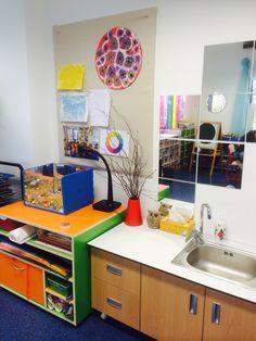 art area in the classroom, sink+mirror; Little PeopleLearn