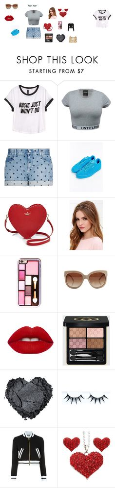 """""""A Ragular Day"""" by keke2004 on Polyvore featuring H&M, STELLA McCARTNEY, Puma, Kate Spade, Lulu*s, Lime Crime, Gucci, Moschino, Lanvin and women's clothing"""