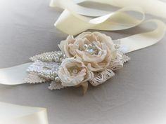 Wedding belt  ivory beige blush  bridal sash Burlap Lace Rustic bridal belt handbeaded glass pearls rustic country wedding