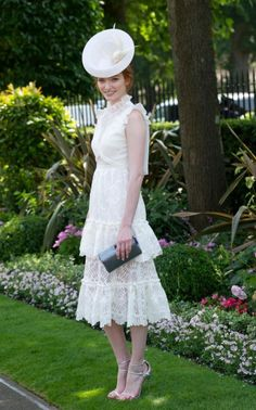 Royal Ascot best dressed Eleanor Tomlinson copies Kate in a My Fair Lady look Debut Dresses, Nice Dresses, Flower Girl Dresses, Race Day Fashion, Next Fashion, Lace Midi Dress, White Dress, Royal Ascot Races, Eleanor Tomlinson