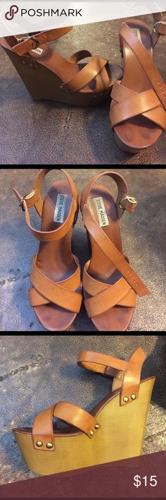 Steve Madden wedges Worn once, perfect condition Steve Madden Shoes Wedges