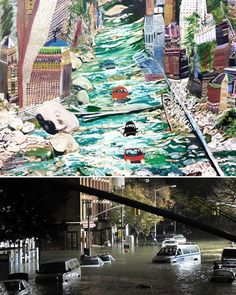Prophetic work by Olive Ayhens – 'Rapid Commute', 1997, capturing the impossible surreal image of the flood in New York, which actually occurred almost 20 years after it was painted.  Courtesy Gary Tatintsian Gallery and the artist. ⠀ #oliveayhens #rapidcommute #prophecy #flood #newyork #contemporaryart #art #painting #gallery #artstagram #todaysartreport #artstagram #americanart #garytatintsiangallery