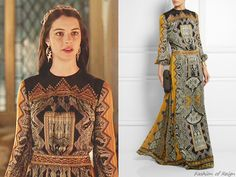"""In the episode 2x15 (""""Forbidden"""") Queen Mary wears this sold out Etro Embellished Paisley-Print Silk-Jacquard Gown."""