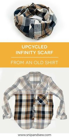 Upcycled Infinity Scarf from an old flannel shirt. DIY. Refashion