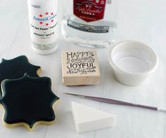 How to: Stamped Chalkboard Art Cookies - 1 Part vodka to 3 Parts white food coloring
