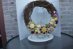 Fancy Wool blend Felt Flower Grapevine Wreath - Made with Tender Loving care
