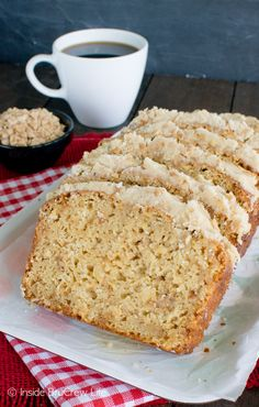 This easy Toffee Apple Bread is loaded with shredded apples and toffee bits and topped with brown sugar frosting. Great snack recipe!