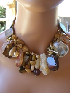 Large Chunky Rocks Statement Choker Ethnic Persian Queen Brown Camel Colors Tribal Style CLUSTER Tiger Eye Citrine Jasper Statement Necklace. $99.00