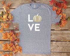 Pumpkin Shirts Unisex Fall Shirts Gold Pumpkin Love Fall T