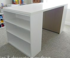 2 bookcases + a sheet of plywood on top = diy craft table