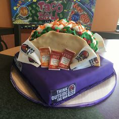 Taco Bell cake 13 Birthday Cake, Frozen Birthday, Taco Bell Wedding, Taco Cake, Sleepover Snacks, Anna Cake, Anniversary Surprise, Taco Party, Different Cakes