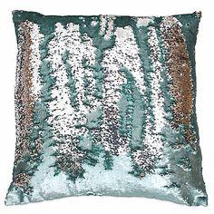 Thro Melody Mermaid Sequin Square Throw Pillow