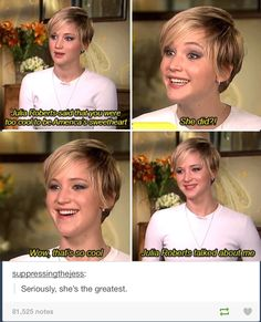 Haha I love how she's a celebrity but she still fangirls and gushes when she's talking about other celebrities!!